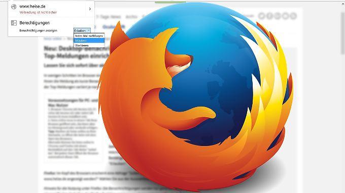 Push-Benachrichtigungen verschickt Firefox 44 auch ohne offene Tabs.