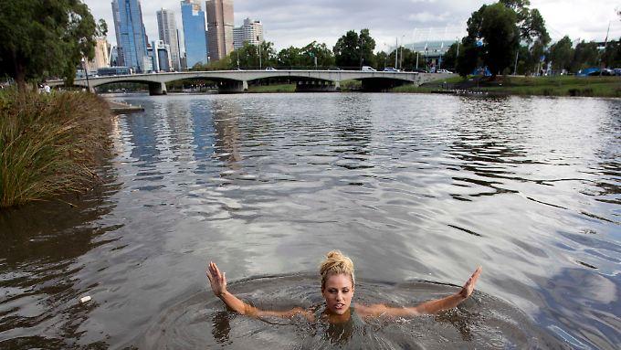 Das Bad im Yarra River genoss Angelique Kerber besonders.