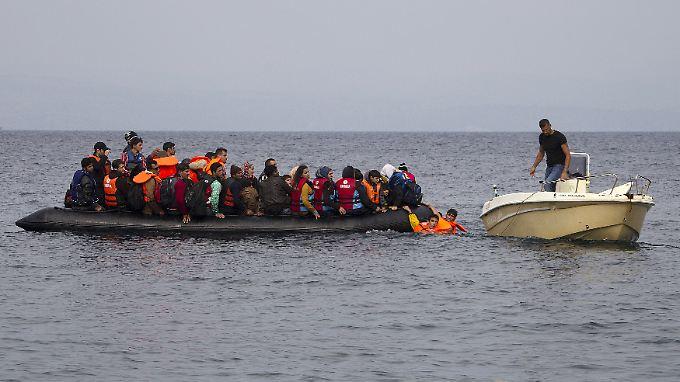 Ein griechischer Fischer hilft Migranten auf einem Schlauchboot. Doch warum können überhaupt noch so viele in See stechen?