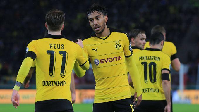 Marco Reus und Pierre-Emerick Aubameyang sammelten zusammen fünf Scorerpunkte. Bei drei BVB-Treffern gegen Stuttgart ist das eine respektable Ausbeute.