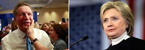 """New Hampshire und die Folgen: Clinton angezählt, Kasich überstrahlt """"Robot"""""""