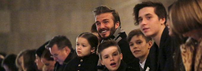 David Beckham mit den Kindern Harper, Cruz, Romeo und Brooklyn.