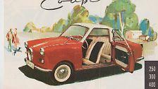 """Platz 19: Goggomobil von 1957. """"Goggomobil fahren heißt Geld sparen, für rund drei Mark fährt man 100 Kilometer weit"""", versprach die Werbung und tatsächlich galt der bayerische Straßenfloh mit einem Verbrauch von gut vier Litern lange Zeit als effizienteste vollwertige viersitzige Limousine und Coupé."""