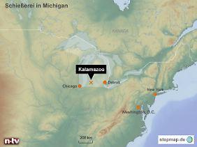Bluttat im Norden der USA: Der Bezirk Kalamazoo liegt im Bundesstaat Michigan zwischen den Großen Seen.