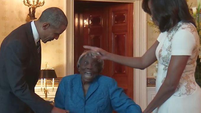 Virginia McLaurin ist überglücklich und macht aus dem Treffen mit den Obamas kurzerhand eine kleine Tanzparty.