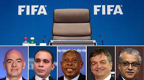 Die fünf Kandidaten (v.l.): Gianni Infantino, Prinz Ali bin al-Hussein, Tokyo Sexwale, Jerome Champagne und Scheich Salman bin Ibrahim Al Khalifa.