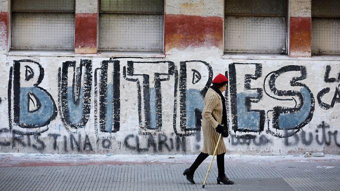 """Szene aus Buenos Aires. Dort bezeichnet man die US-Hedgefonds auch als """"Geierfonds""""."""