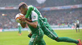 Gegen Hannover jubelt Zlatko Junuzovic (l) noch gegen seinen Treffer - jetzt droht im Ärger durch den DFB.