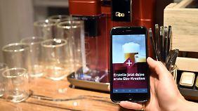 Per App kann man bei Qbo Kaffee und Milch individuell zusammen mischen.
