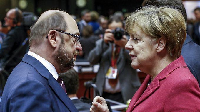 EU-Parlamentspräsident Schulz und Kanzlerin Merkel beim EU-Gipfel.