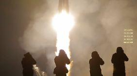 Der Start am Weltraumbahnhof Baikonur.