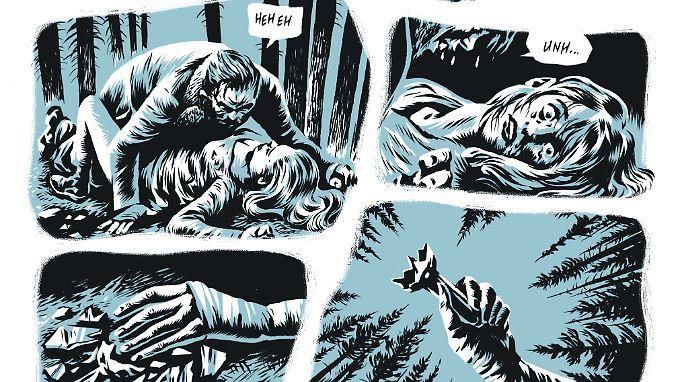 """Gewalt, vor allem gegen Frauen, ist ein wiederkehrendes Thema in den Mörderballaden - Abbildung aus """"In the Pines""""."""