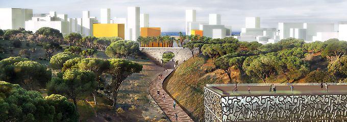 Modell der Umgebung des Jueus-Sturzbaches in Palma de Mallorca, wo ein Boulevard zum Strand entstehen soll.