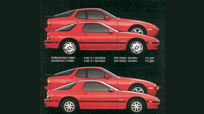 Mazda vergleicht den RX-7 in der Werbung mit dem Porsche 944.