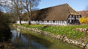 Im Schlosspark von Egeskov sieht man typisch fünische Häuser im alten Stil.