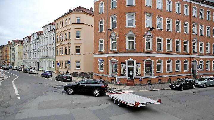 """Blick auf die Kreuzung Kreisigstraße/Moritzstraße in Zwickau. In beiden Straßen soll """"Primus"""" seine Läden betrieben haben."""