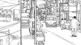 """Realistische Zeichnungen und genaue Beobachtungen zeichnen das Werk von Jirō Taniguchi aus (Szene aus """"Der spazierende Mann"""")."""