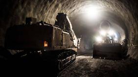 Tunnelbauarbeiten bei Stuttgart-Wangen.