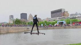 Auf schwebendem Hoverboard: Kanadischer Tüftler erfüllt sich Traum vom Fliegen