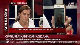 Erdogan gab CNN Türk ein Interview per Videochat auf dem Smartphone.