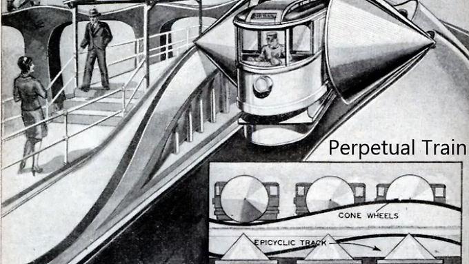 Kam immer wieder in Mode: die Vision von einem Zug, der ohne äußeren Antrieb unterwegs ist.