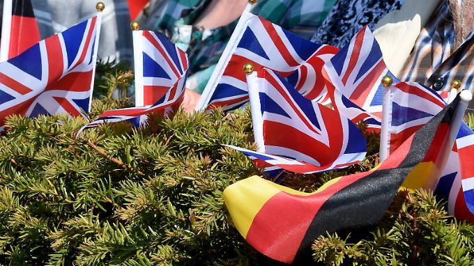 Britische und deutsche Fähnchen stecken bei der Parade britischer Soldaten im niedersächsischen Bergen in einer Hecke.