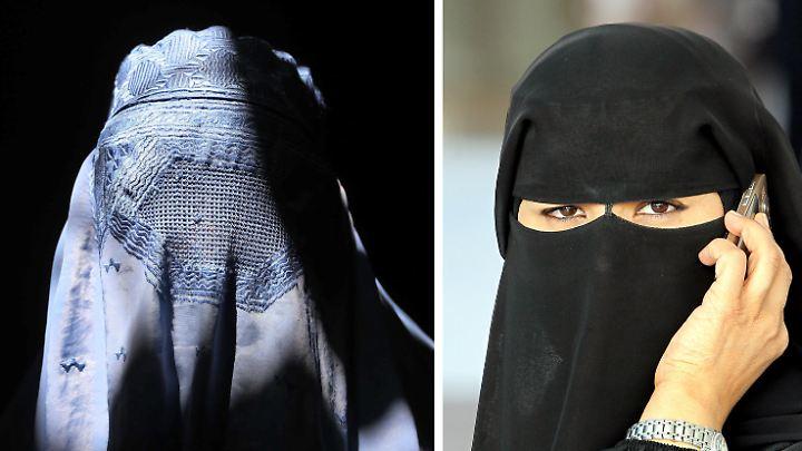 Unter Muslimen in Deutschland ist die Vollverschleierung durch  Burka (l.) oder Nikab (r.) äußerst selten.