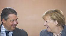 Einigkeit zwischen Wirtschaftsminister Gabriel und Kanzlerin Merkel bei der Kabinettssitzung.