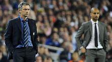 José Mourinho, nun in Diensten von ManUnited, und ManCitys Trainer Josep Guardiola mögen sich nicht besonders.