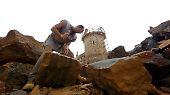 Die Steine für die Burg Guédelon stammen aus einem nahegelegenen stillgelegten Steinbruch.