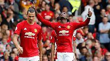 Zlatan Ibrahimovic war diesmal nicht erfolgreich, dafür erzielte Paul Pogba seinen ersten Treffer für Manchester United.