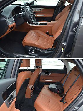Die Ledersitze im Jaguar XF sind straff und komfortabel, bieten zudem einen ausgezeichneten Seitenhalt.
