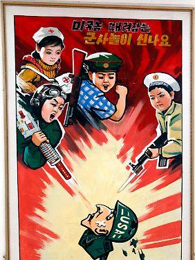 Die nordkoreanische Propaganda stellt die USA als imperialistischen Klassenfeind dar, den es zu vernichten gilt.