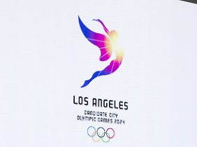Stadt der Engel - das Logo für die Bewerbung von Los Angeles für die Olympischen Spiele 2024.