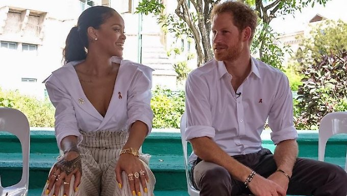 Das mit dem HIV-Test hatten sie sich vielleicht doch anders vorgestellt: Rihanna und Prinz Harry.