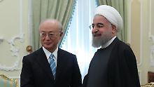 In Teheran sprach Irans Präsident Ruhani mit IAEA-Chef Amano.