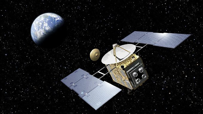 Hayabusa-2 wird die Nachfolgemission des erfolgreichen japanischen Raumfahrtprogramms Hayabusa (im Bild die Raumsonde). Nach der Landung auf dem Asteroiden 1999 JU 3 kommt der Lander Mascot mit den Grüßen an Bord zum Einsatz.