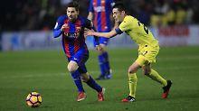 Konnte das Schlimmste in der letzten Minute verhindern: Messi (l.)