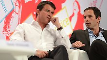Manuel Valls (l) und Benoît Hamon könnten kaum unterschiedlichere Positionen vertreten.