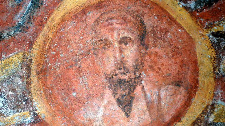 Mosaik des Apostels Paulus in Rom.