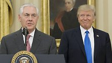 Donald Trump vereidigt Rex Tillerson als Außenminister der USA Rex Tillerson (L) delivers remarks after being sworn-in as Secretary of State, beside US President Donald J. Trump (R) in the Oval Office of the White House in Washington, DC on February 1, 2017. Tillerson was confirmed by the Senate today in a 56-to-43 vote to become the nation s 69th Secretary of State. Pool photo by Michael Reynolds/ PUBLICATIONxINxGERxSUIxAUTxHUNxONLY WAX20170201214 MICHAELxREYNOLDS  Donald Trump sworn Rex Tillerson as Foreign Minister the USA Rex Tillerson l delivers Remarks After Being sworn in As Secretary of State Beside U.S. President Donald J Trump r in The Oval Office of The White House in Washington DC ON February 1 2017 Tillerson what confirmed by The Senate Today in a 56 to 43 VOTE to Become The Nation S 69th Secretary of State Pool Photo by Michael Reynolds PUBLICATIONxINxGERxSUIxAUTxHUNxONLY WAX20170201214 MICHAELxREYNOLDS