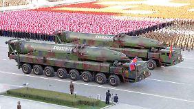 Interkontinentale Langstreckenraketen wie diese KN-08 konnte das nordkoreanische Regime bislang nicht erfolgreich testen.