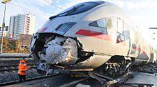 Spezialkräne angefordert: Leerer ICE in Frankfurt entgleist