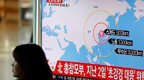 Dieses TV-Standbild veranschaulicht die theoretische Reichweite nordkoreanischer Raketen.