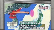 Im japanischen Fernsehen bestimmt der nordkoreanische Raketentest auch am Tag danach noch die Schlagzeilen.