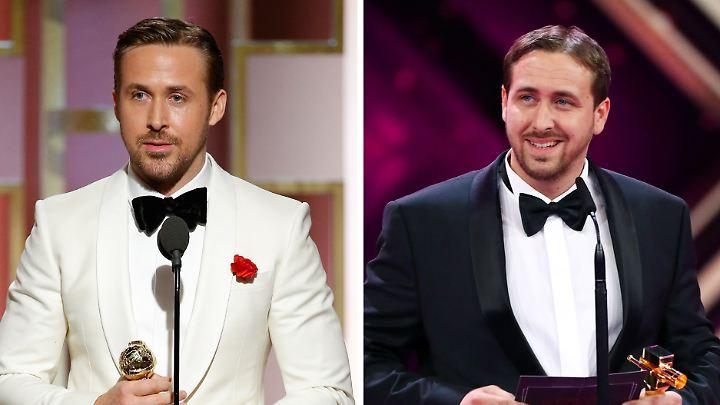 Haben eher entfernte Ähnlichkeit miteinander: Ryan Gosling und Ludwig Lehner (r.)