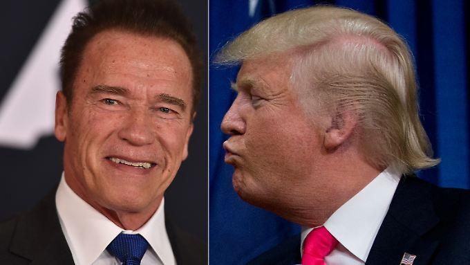 Geht da was? Arnold Schwarzenegger (l.) und Donald Trump.