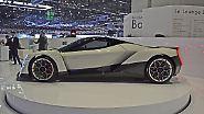 Später einmal soll der Zweisitzer von vier E-Motoren angetrieben werden, der in der Schweiz ausgestellte Prototyp aber setzt noch auf Heckantrieb. Die Werte lesen sich jetzt schon beeindruckend: Knapp 2,8 Sekunden auf Tempo 100, maximal 320 km/h – und das mit gut 1,7 Tonnen Leergewicht!