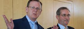Bodo Ramelow und Matthias Platzeck erklären das Schlichtungsergebnis.