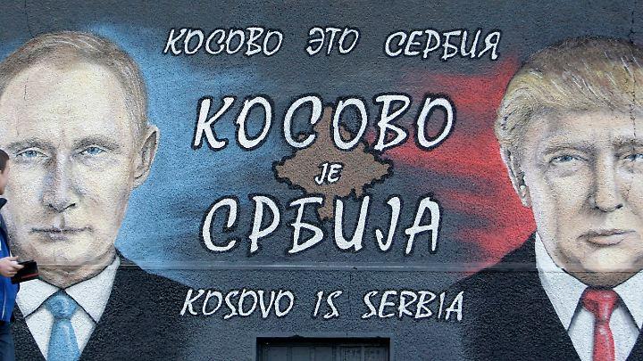 Ein Graffito in Belgrad mit deutlicher Botschaft: Der Kosovo geht zu Serbien.